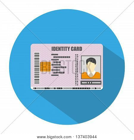 Id card icon in blue circle with long shadow. identity card, national id card, id card with electronic chip. vector illustration in flat design on white background
