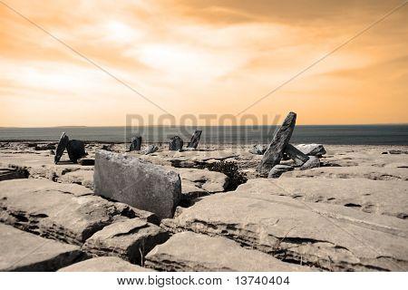 Boulders Standing Upright In Rocky Burren Landscape