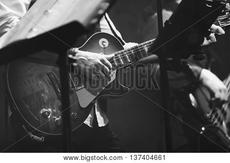 Old Style Rock Music Background, Guitar Player