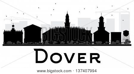 Dover City skyline black and white silhouette. Simple flat concept for tourism presentation, banner, placard or web site. Business travel concept. Cityscape with landmarks
