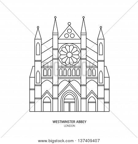 Westminster Abbey London landmark vector illustration. Outline design element for tourism banner flayer website background