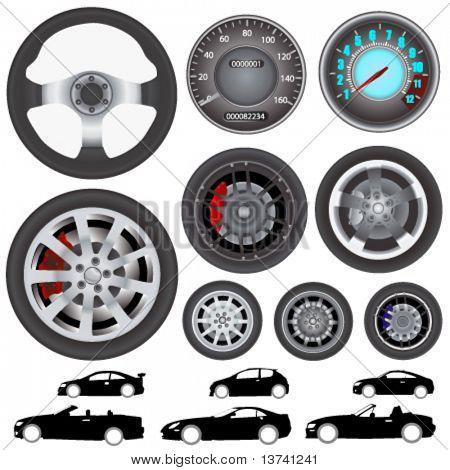 car, wheel, steering wheel vector(different style)