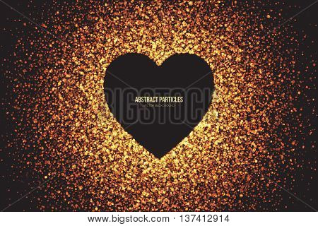 Heart symbol vector background. Abstract bright golden shimmer glowing round particles. Burning sparks. Scatter shine tinsel light explosion effect. Celebration holidays party illustration