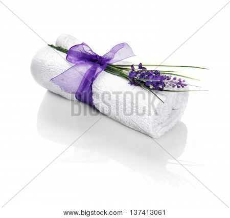 Spa Towel With Flower And Ribbon