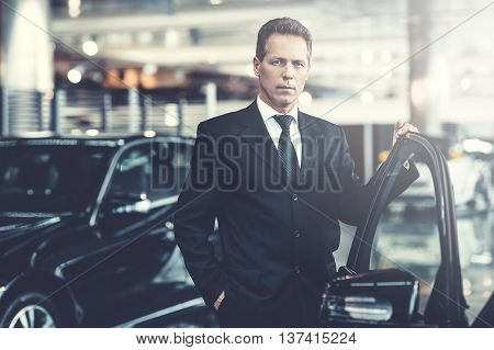 Confident choice. Confident grey hair man in formalwear holding hand on opened car door and looking at camera
