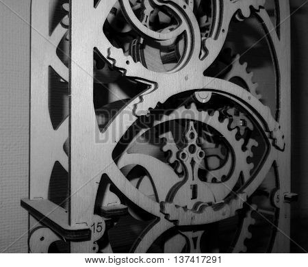 Mechanism symbol. Souvenir mechanism with gears black and white stock photo