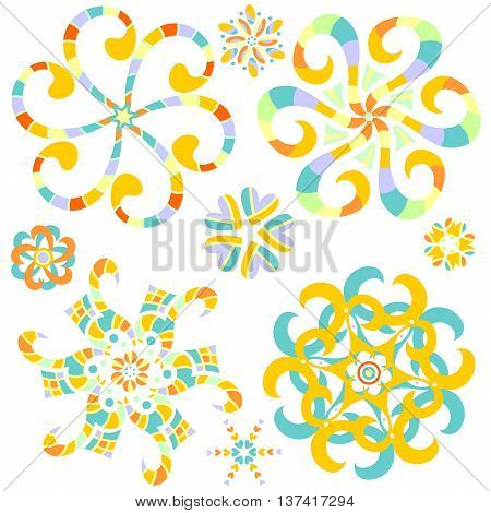 Colorful ornament collection with hearts over white background