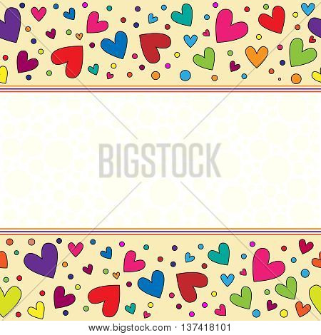 romantic and colorful background with hearts and dots