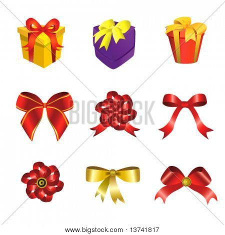 ribbon and gift box vector