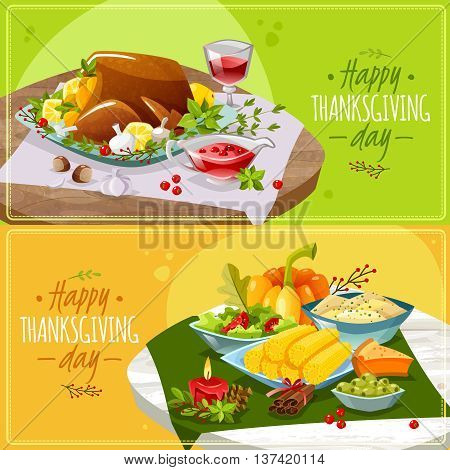 Two horizontal banners on the theme thankgiving day. Happy thanksgiving banners. Vector illustration