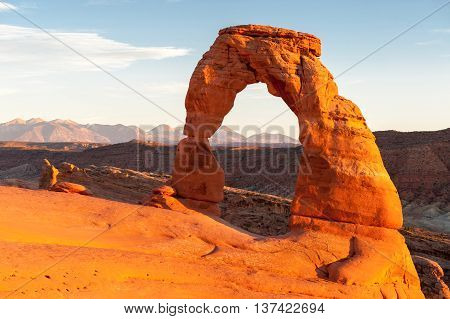 famous Delicate Arch at sunset Utah USA