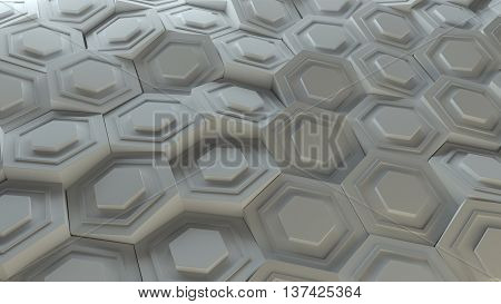 3d background platte made of randomly rotated sixgon pattern elements