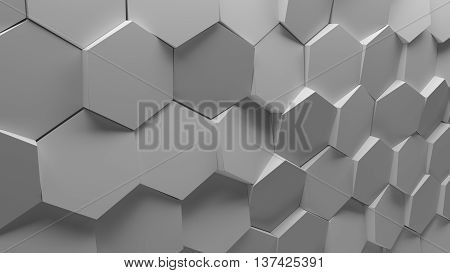 3d renderingbackground platte made of randomly rotated sixgon pattern elements