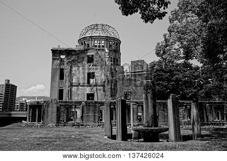 Ruins of the grand Hiroshima dome as a symbol and memorial of Hiroshima's atomic disaster during the second World War, in the Hiroshima Peace Memorial Park, Japan.