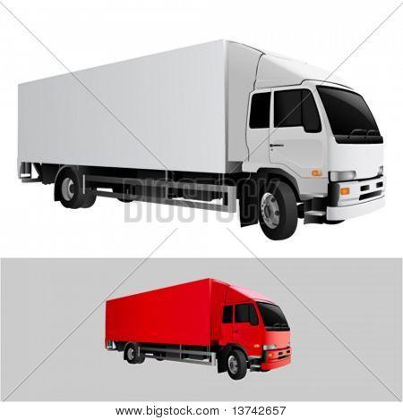 great detail cargo truck vector