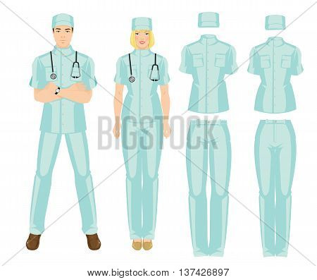 Vector illustration of medical uniform. Doctor in professional clothes and hat isolated on white background.