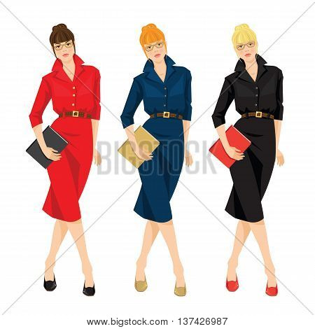 Business women or teacher in red, blue and black formal dress holding document