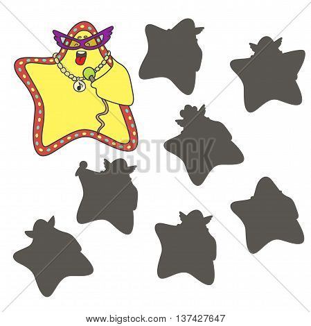 Cartoon star.Find the right shadow image. Educational games for kids.Vector stock illustration