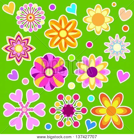 Colorful flower and heart collection over green background