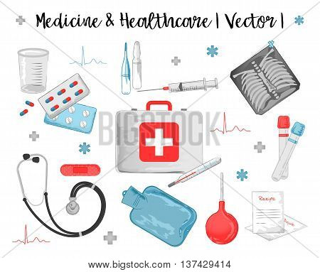 Vector watercolor icons set of medicine and healthcare objects such as thermometer, pills, stethoscope, syringe, first aid kit, test-tube, red patch, recipe, enema, warming pan, cardiogram and x-ray