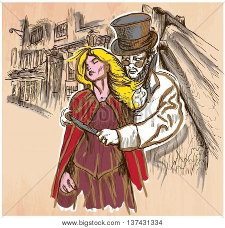 An hand drawn vector JACK THE RIPPER and his victim. Killer with the knife threatening a young woman in old London city - colored line art. Vector is editable in groups and layers. Freehand sketching