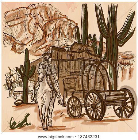 An hand drawn vector SHERIFF. Wild West scene - An horse rider in front of Wooden Saloon American scenery landscape - colored line art. Vector is editable in groups and layers - freehand sketching.