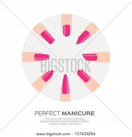 Different pink nail shapes icons. Woman fingers. Fingernails fashion trends. Types of fashion nail shapes. Vector design illustration on pastel background