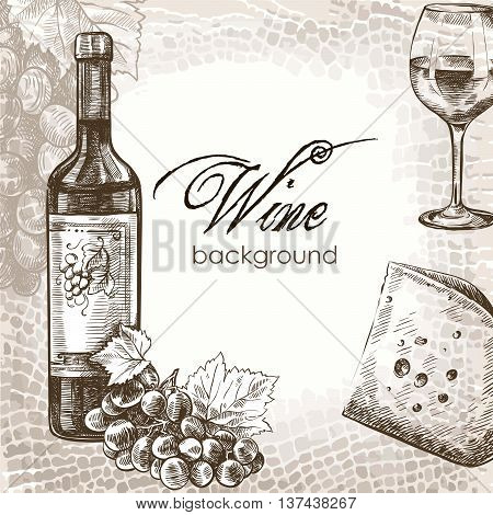 hand drawn sketch of wine and snacks on an abstract background