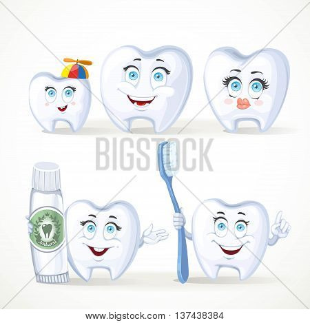 Funny teeth dental family father mother child teeth with toothpaste and a tooth with a toothbrush isolated on white background