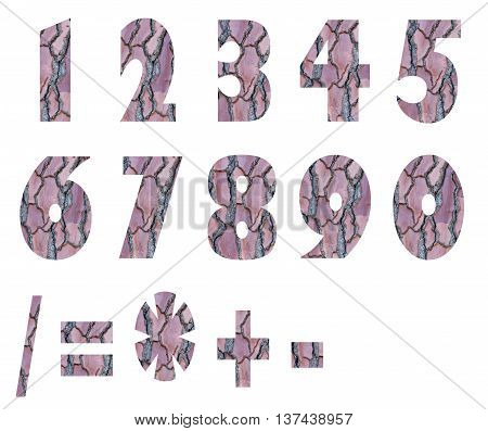 Numbers and arithmetic signs made pine bark isolated on white background.