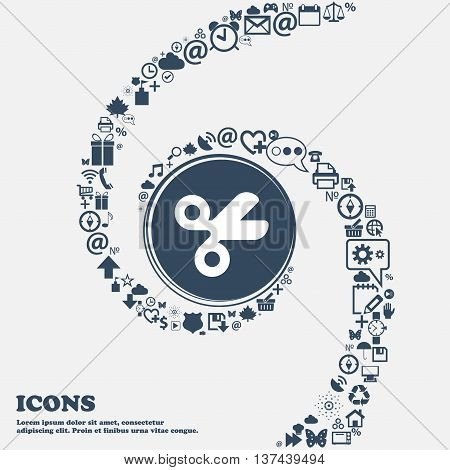 Scissors Hairdresser, Tailor Icon Sign In The Center. Around The Many Beautiful Symbols Twisted In A