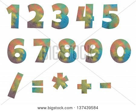 Numbers and arithmetic signs made from powder of colored chalks isolated on white background.