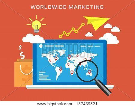 Flat design of Worldwide Marketing composition. Promotion online concept, vector