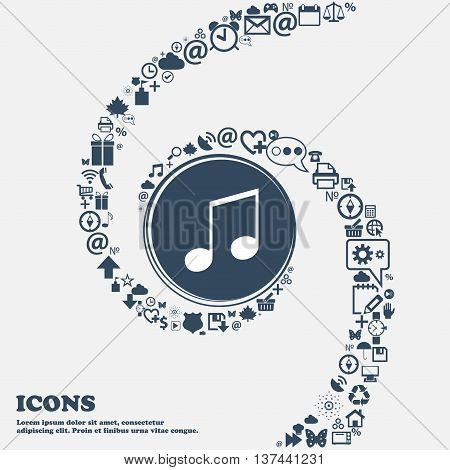 Musical Note, Music, Ringtone Icon Sign In The Center. Around The Many Beautiful Symbols Twisted In
