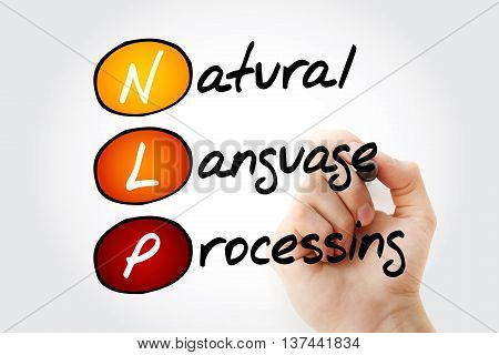 Hand writing NLP Natural Language Processing with marker acronym concept poster