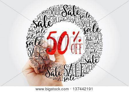 Hand Writing 50% Off Sale Circle Word Cloud