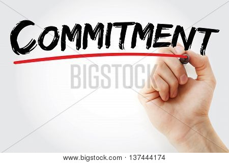 Hand Writing Commitment With Marker