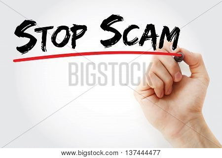 Hand writing Stop Scam with marker concept background poster