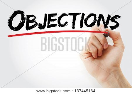 Hand Writing Objections With Marker