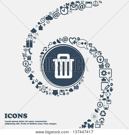 Recycle Bin Icon Sign In The Center. Around The Many Beautiful Symbols Twisted In A Spiral. You Can