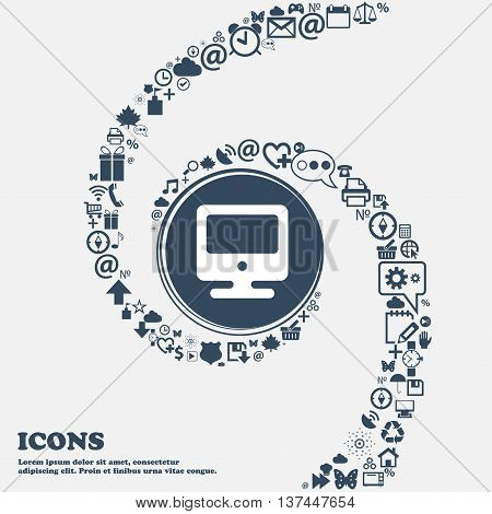 Monitor Icon Sign In The Center. Around The Many Beautiful Symbols Twisted In A Spiral. You Can Use