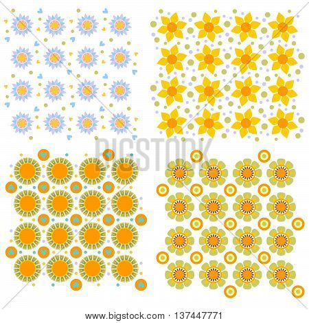 Colorful floral texture collection isolated over white background
