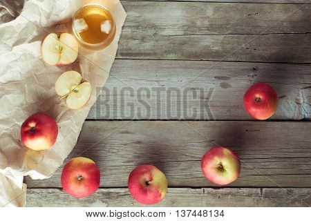 juice with ice and apple with space for text