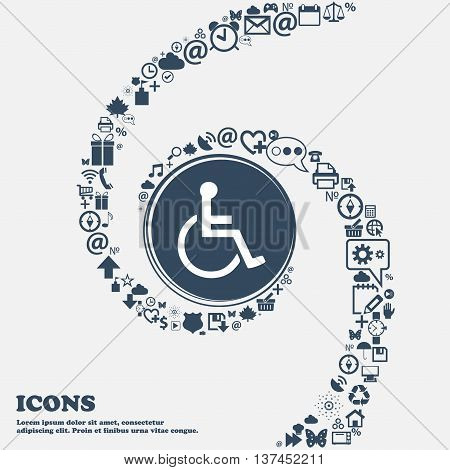 Disabled Icon Sign In The Center. Around The Many Beautiful Symbols Twisted In A Spiral. You Can Use