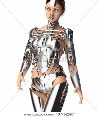 Female Robot Isolated On White