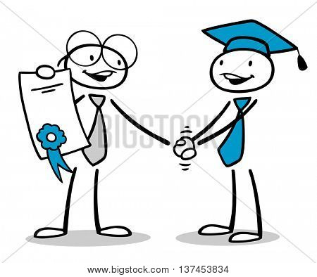 Business man getting diploma or certificate after qualification