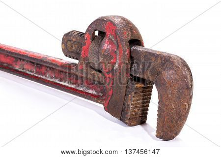 View Of Vertical Old Neglected Rusty  Monkey Wrench Spanner