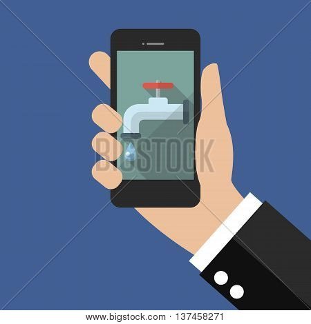 Hand holding smart phone with water tap icon. vector illustration