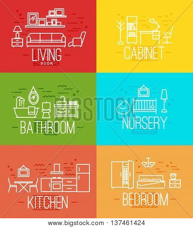 Flat rooms furnishings living room cabinet bathroom nursery kitchen bedroom in flat style drawing with white lines on color background