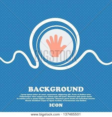 Hand Icon Sign. Blue And White Abstract Background Flecked With Space For Text And Your Design. Vect